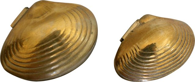 Brass Clamshell Boxes, Pair