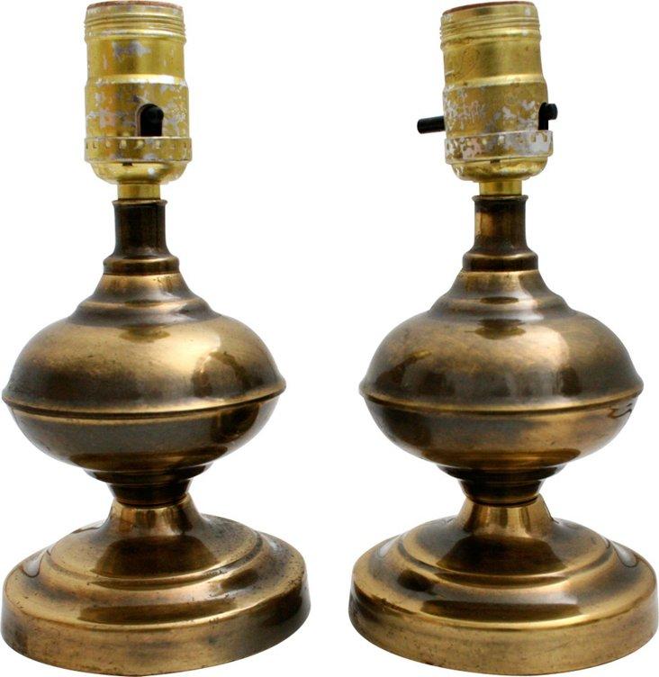 Brass Boudoir Lamps, Pair