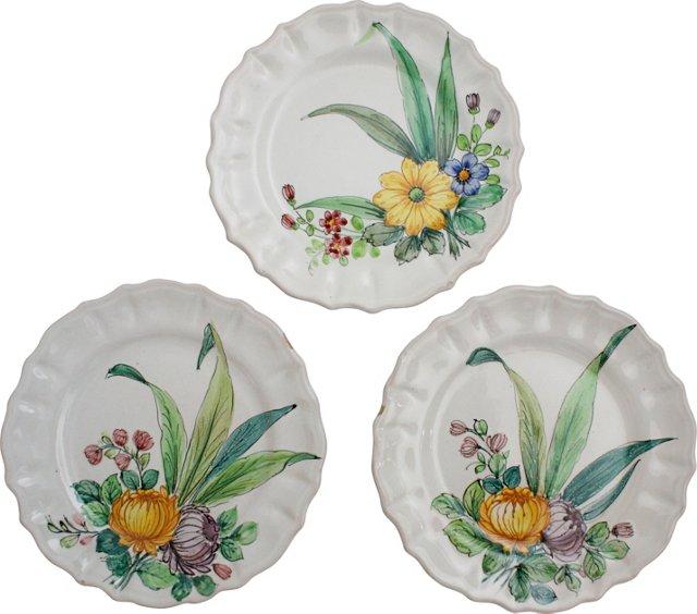 Hand-Painted Dessert Plates, Set of 3