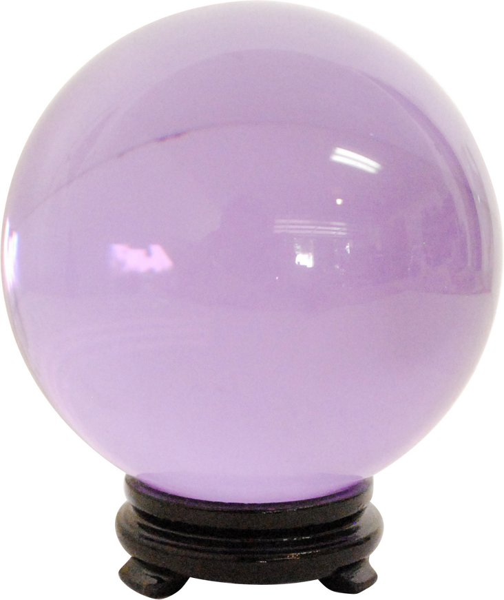 Purple Glass Sphere on Wood Stand