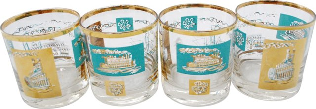 Midcentury Steamboat Glasses, Set of 4