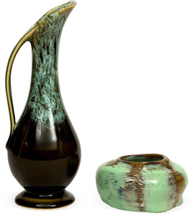Midcentury Ceramic Vase & Dish