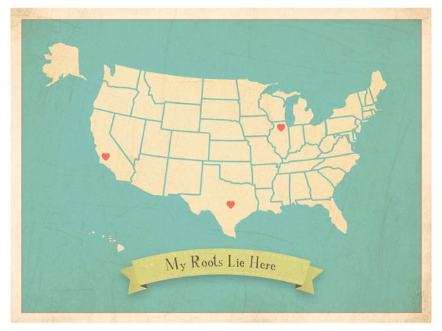My Roots Lie Here USA Map