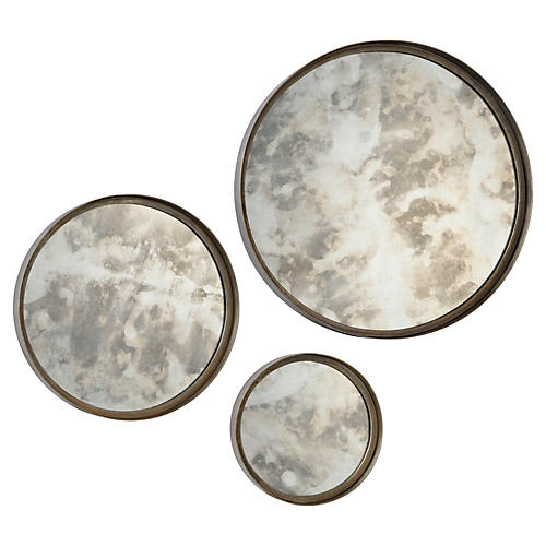 Barbara S/3 Wall Mirrors, Antique Silver