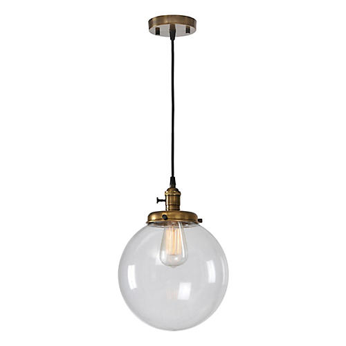 Antonio Pendant, Clear/Antiqued Brass
