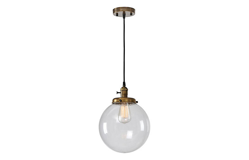 Antonio Pendant, Clear/Antiqued Brass by One Kings Lane
