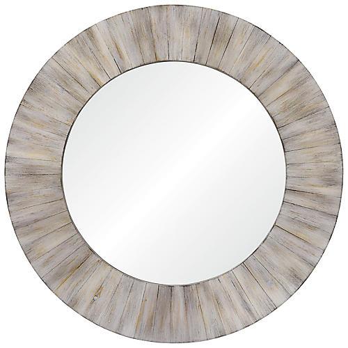 Sheldon Round Wall Mirror, Whitewash