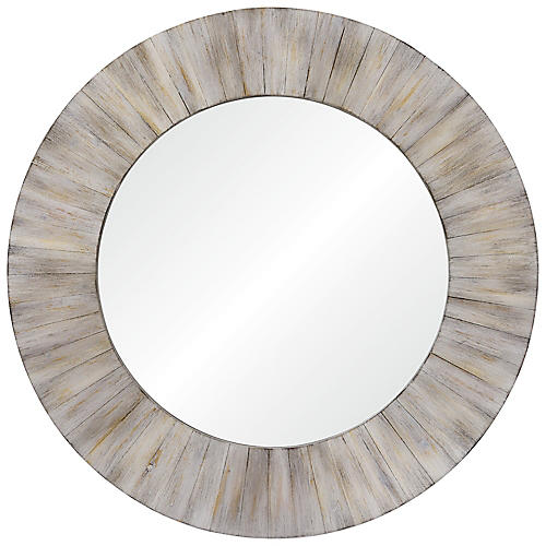 Sheldon Round Wall Mirror, Whitewash