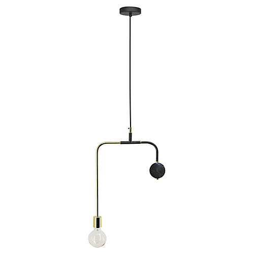 Meloria Marble Pendant, Polished Brass/Black