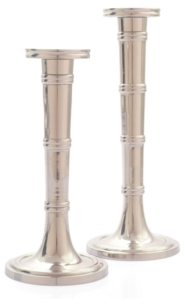 Polished Bamboo Candlesticks, Asst. of 2
