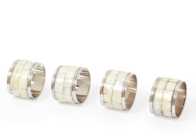 S/4 Oval Mother-of-Pearl Napkin Rings