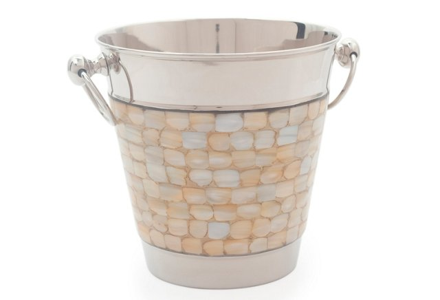 Mother-of-Pearl Ice Bucket w/ Tongs
