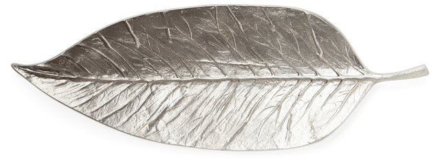 Embossed Leaf Dish, Silver