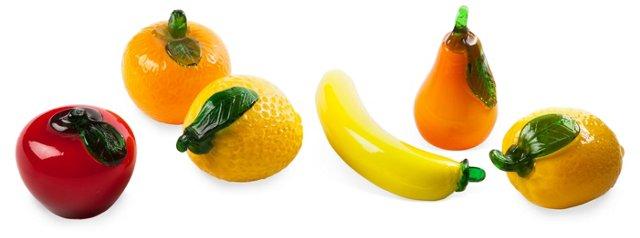 Art Glass Fruits, Set of 6