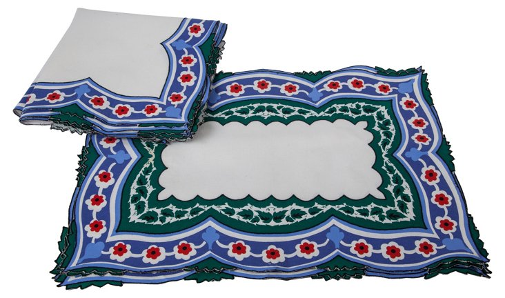 Vintage Place Mat & Napkin Set, 8 Pcs