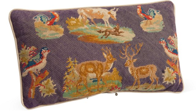 Needlepoint Pillow, Animals