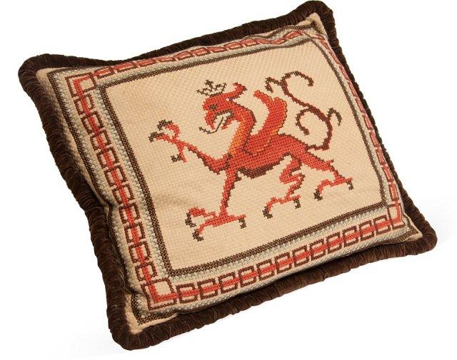 Needlepoint Pillow, Dragon