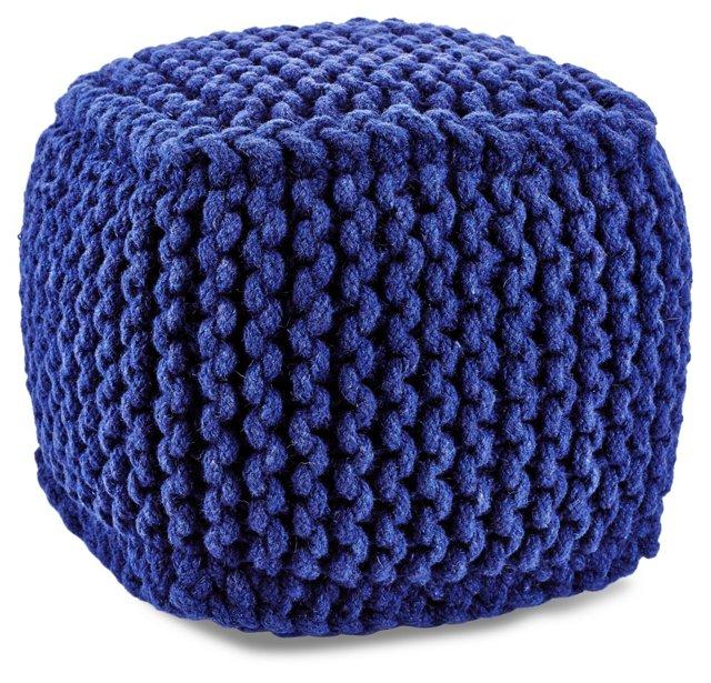 Vivian Knitted Pouf, Blue