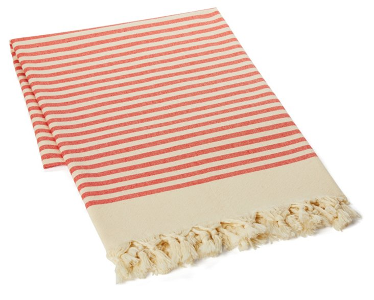 Striped Turkish Towel, Red