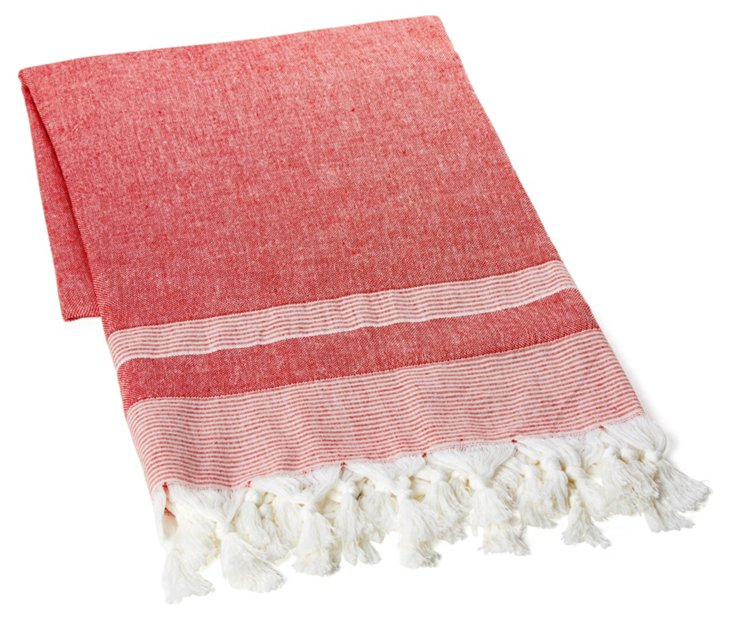 Double Knotted Towel, Red/White