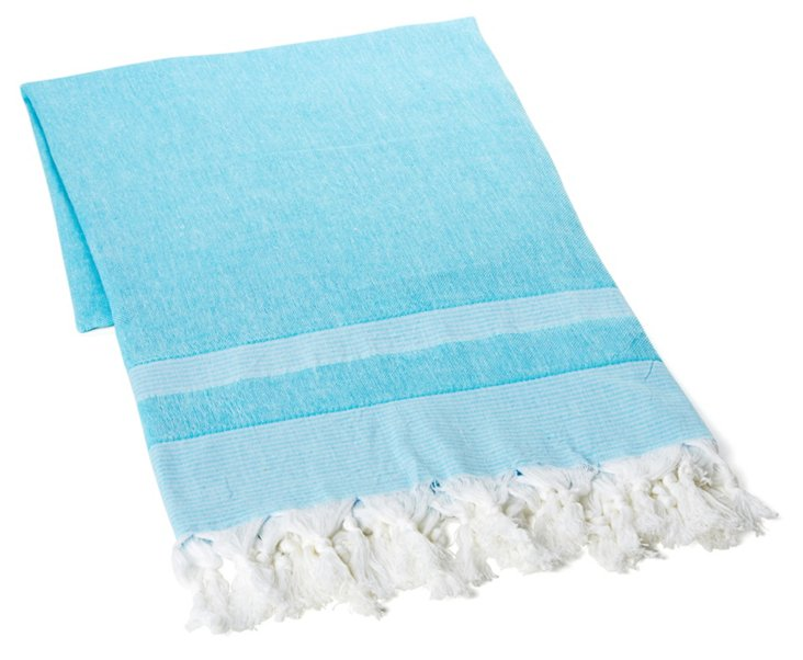 Double Knotted Towel, Blue/White