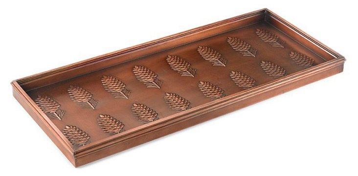 """34"""" Pinecones Boot Tray, Venetian Bronze"""