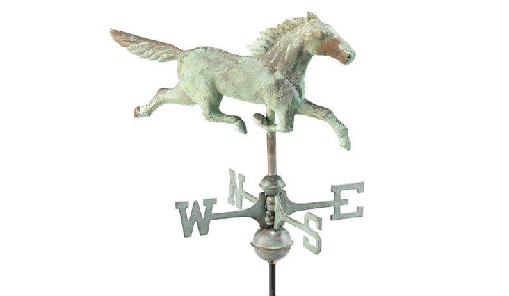"14"" Stallion Weathervane, Verdigris"