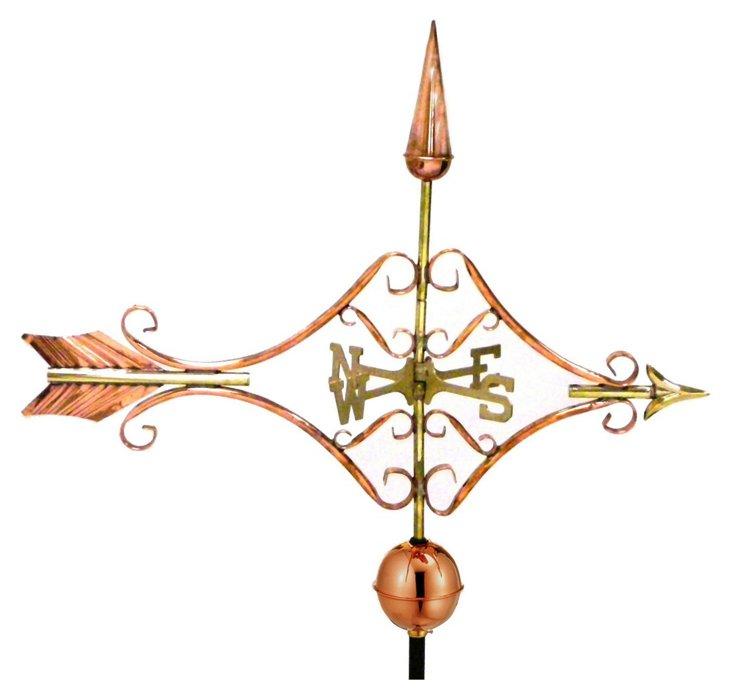 """32"""" Victorian Arrow Weather Vane, Copper"""