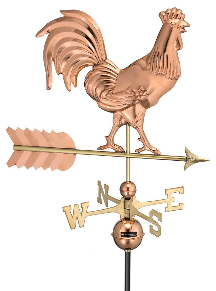 Smithsonian Rooster Weather Vane, Copper