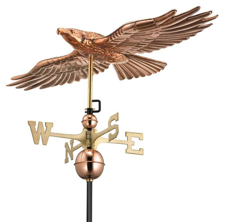 Soaring Hawk Weather Vane, Copper