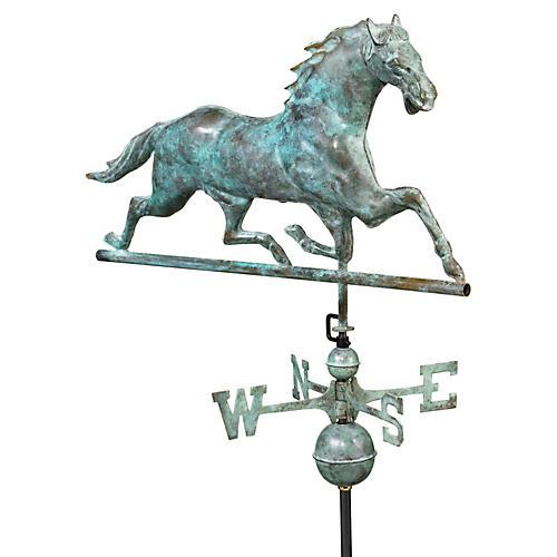 Horse Weather Vane, Blue Verde