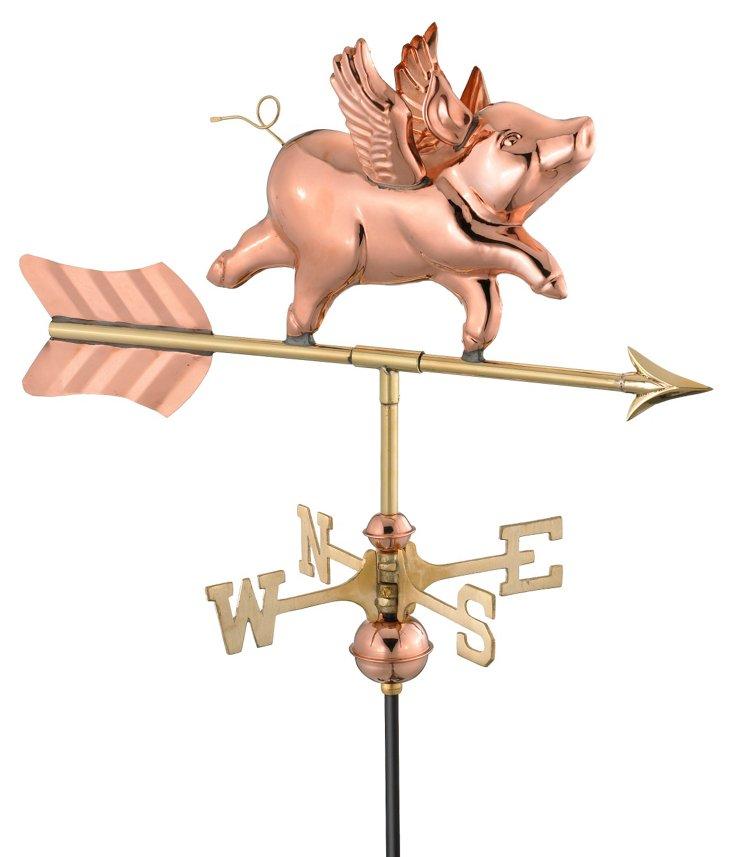 Flying Pig Weather Vane, Polished Copper