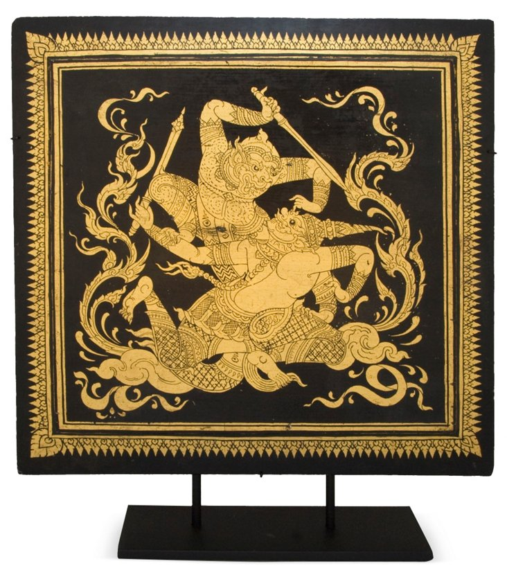 Vintage Thai Lacquer Plate on Stand