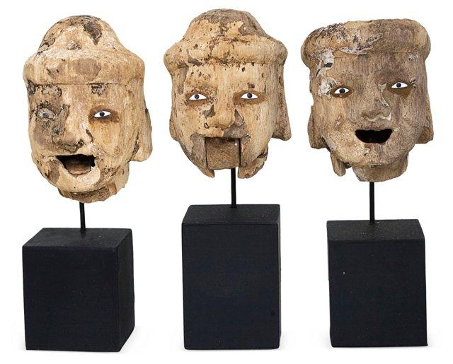 Burmese Puppet Heads, Set of 3