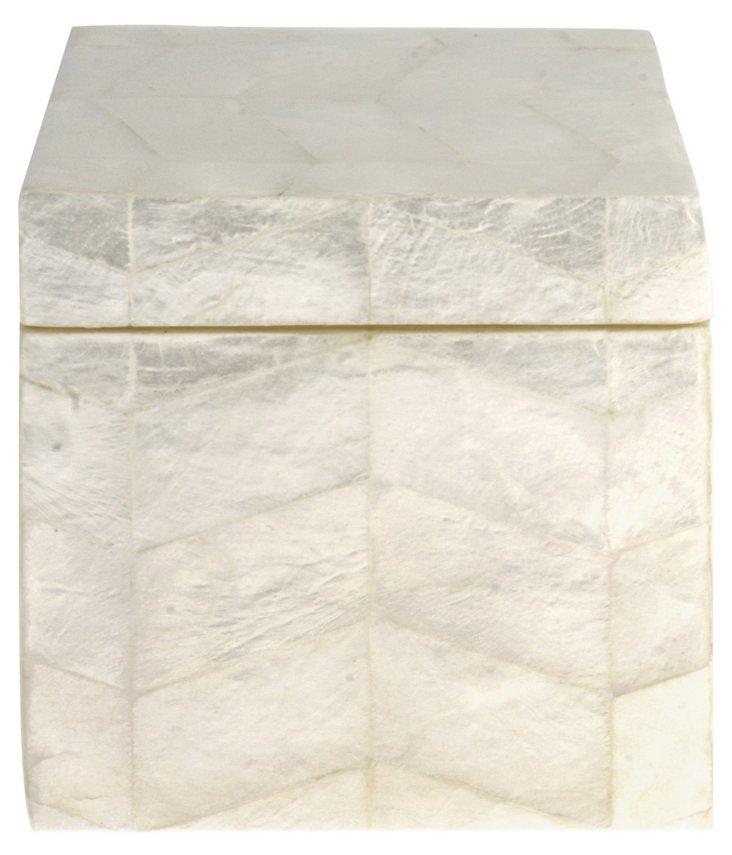 Capiz Square Amenity Box, White