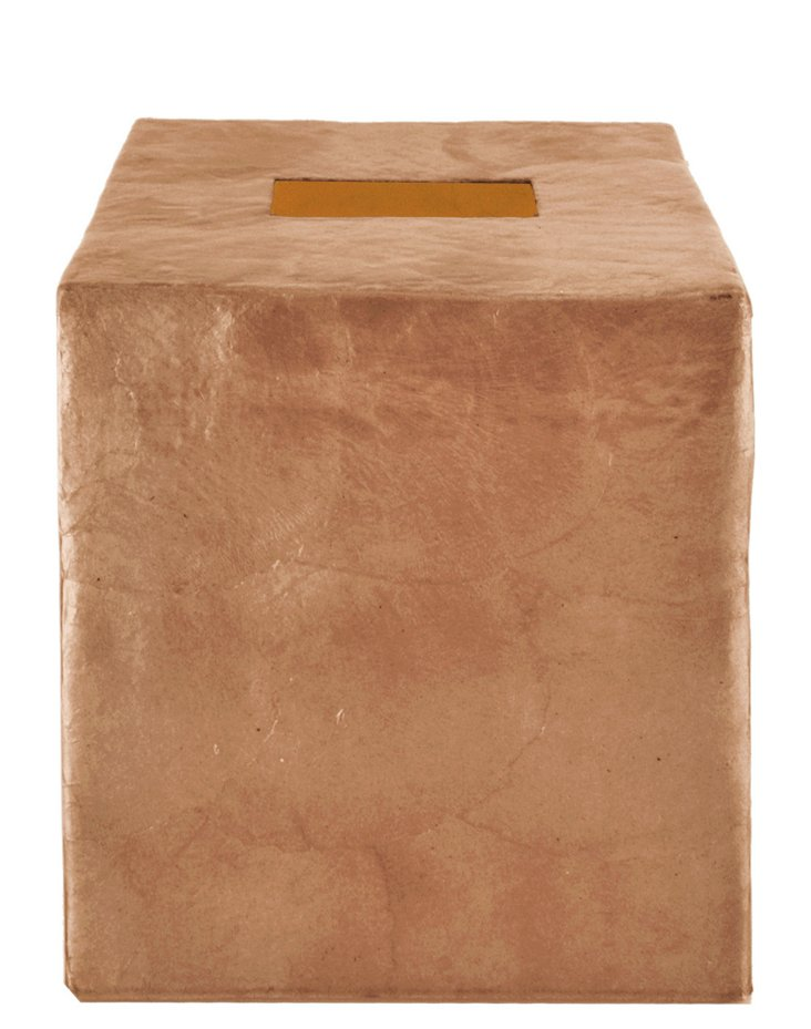 Capiz Tissue Cover, Mocha