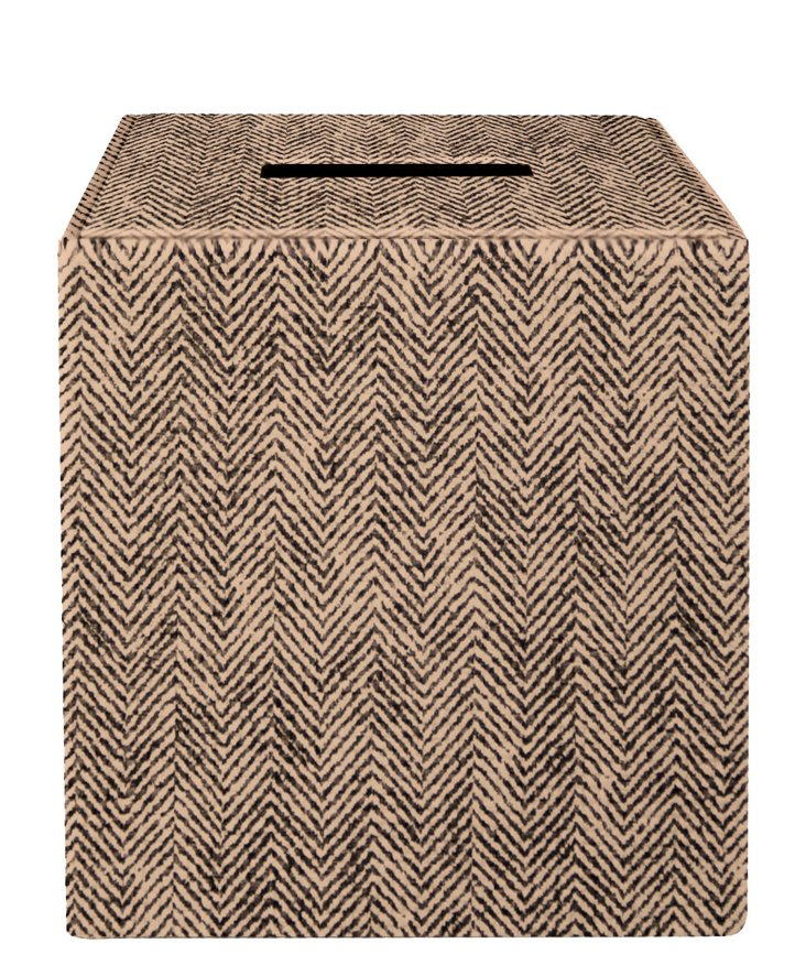Herringbone Tissue Box, Taupe