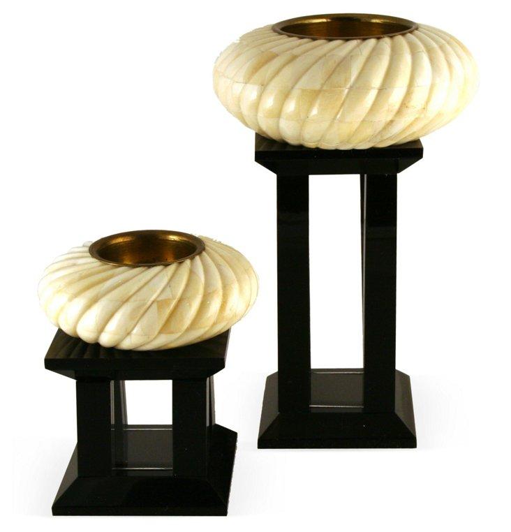 Bone Candleholders, Set of 2
