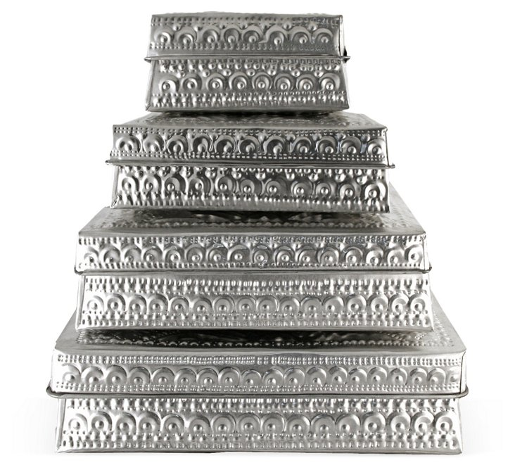 Stacked Hammered Metal Boxes, Set of 4