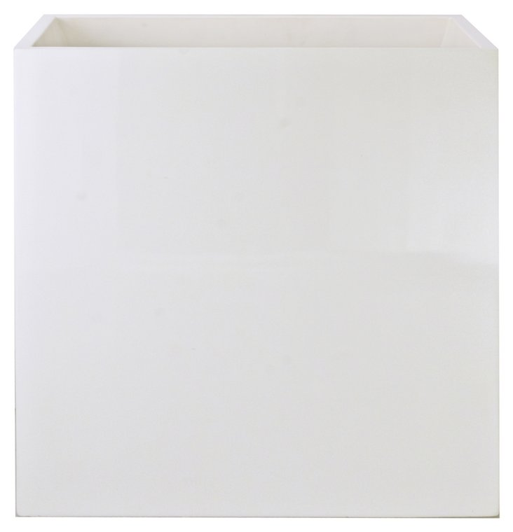 White Lacquer Wastebasket
