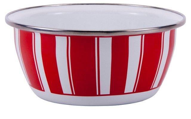 S/4 Stripe Salad Bowls, Red