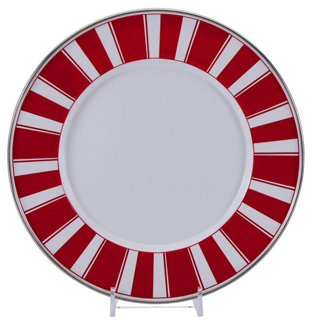 S/4 Stripe Chargers, Red