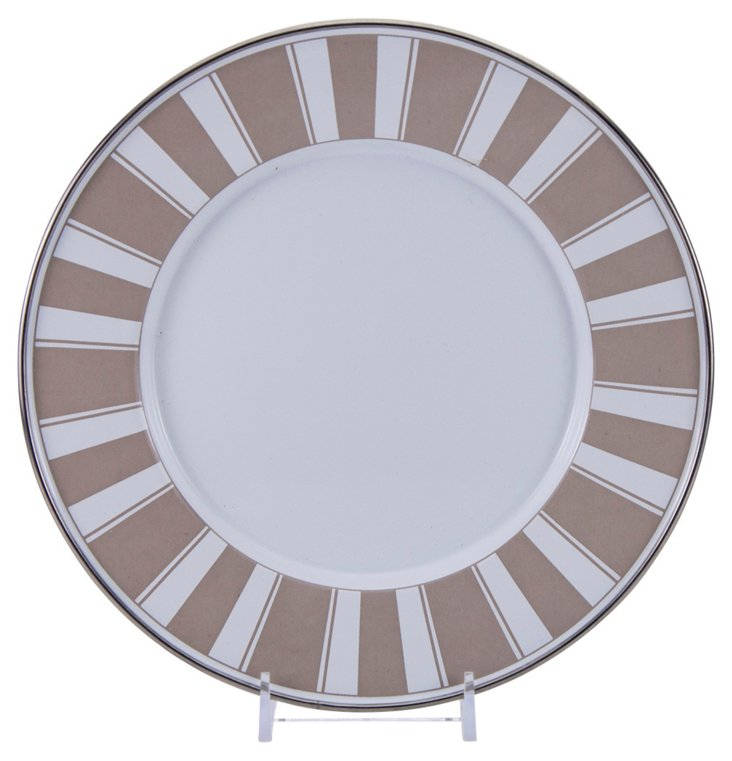 S/4 Stripe Dinner Plates, Taupe