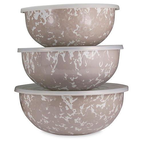Asst. of 3 Swirl Mixing Bowls, Taupe/White