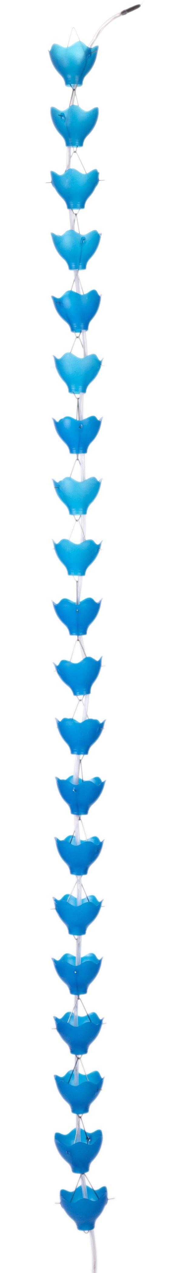 """96"""" Solar-Powered Rain Chain, Blue"""
