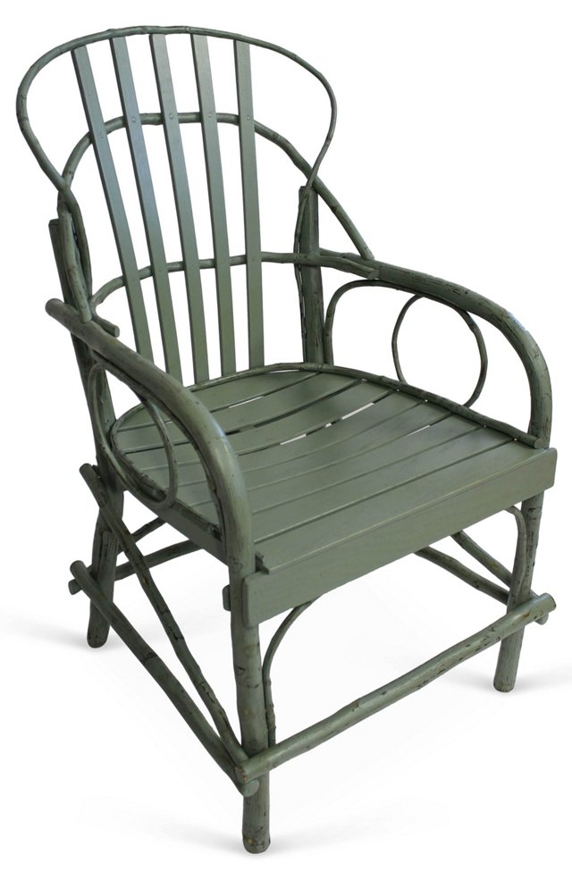 DNURustic Armchair, Distressed Sea Green