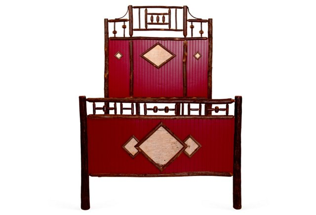 Red Rustic Headboard Bed, Full