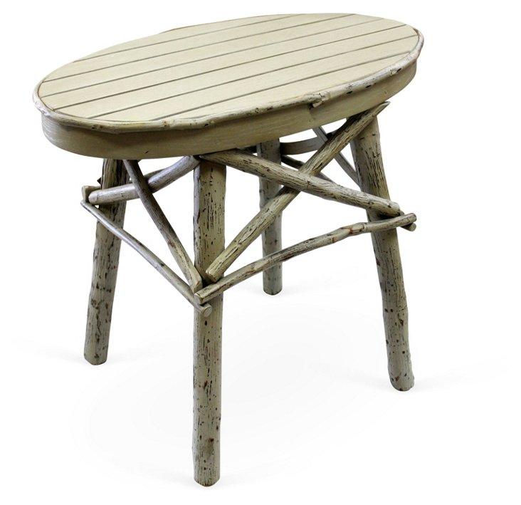 Rustic Side Table, Light Sage