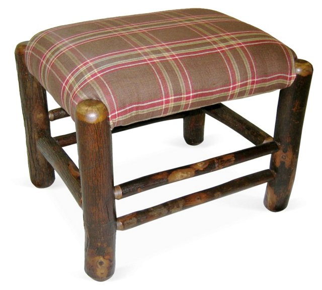 Rustic Plaid Ottoman, Green/Red