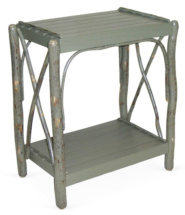 Double Cross Side Table, Distressed Sage